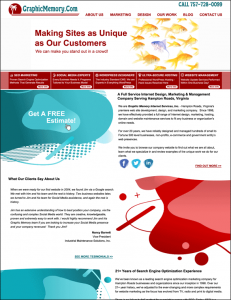 graphic memory web design company 2020 homepage