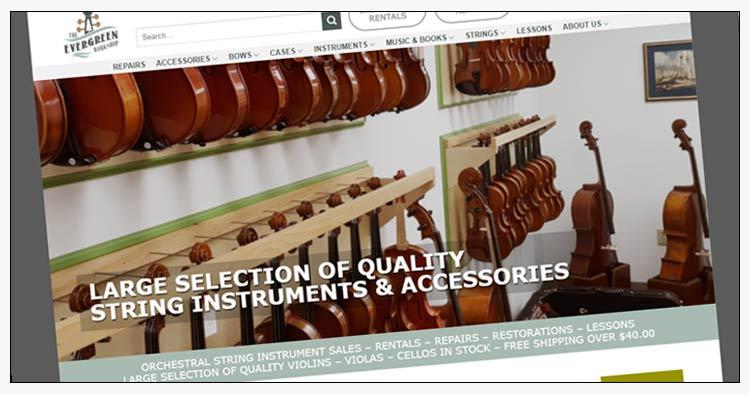 wordpress string instrument sales website design examples poquoson va