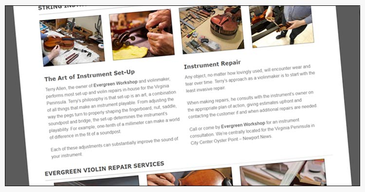 wordpress violin repair website design examples portsmouth va