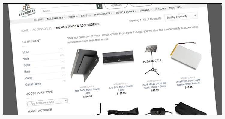 woocommerce music store catalog design examples