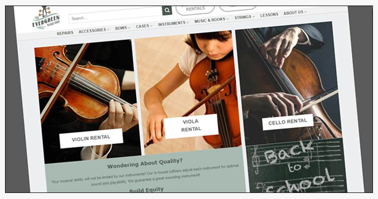 wordpress violin shop website designers yorktown va