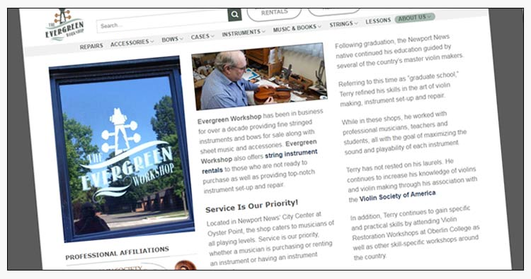 wordpress music shop design examples newport news