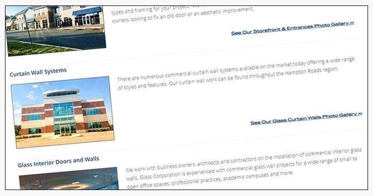 hampton roads commercial glass company website design example