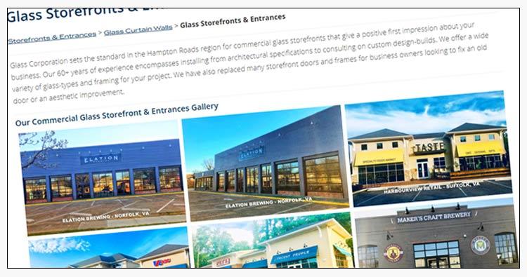wordpress commercial glass company website design virginia beach