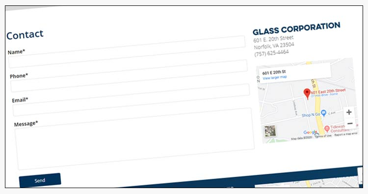 wordpress glass company website example norfolk va
