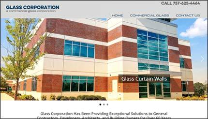 glass corporation norfolk va website homepage design