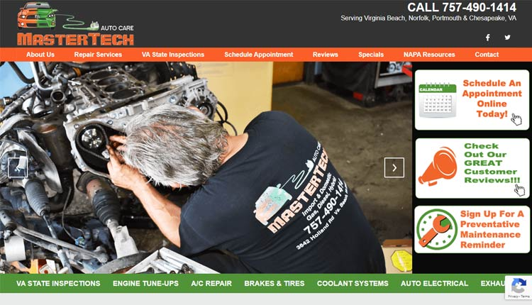 mastertech auto care homepage design virginia beach