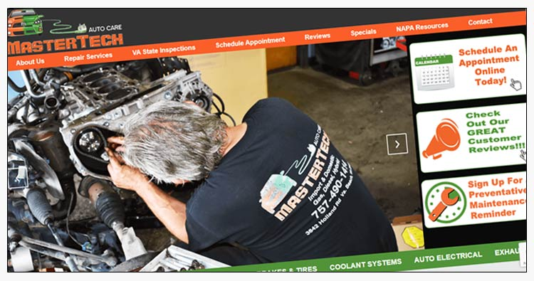 wordpress auto repair shop website design examples norfolk va