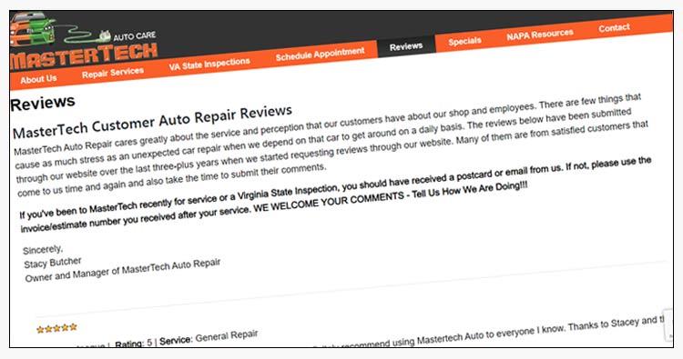 wordpress auto repair shop websites virginia beach