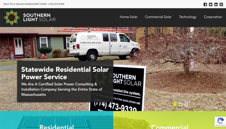 southern light solar homepage design newport news