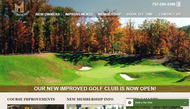 stonehouse golf club homepage design toano va