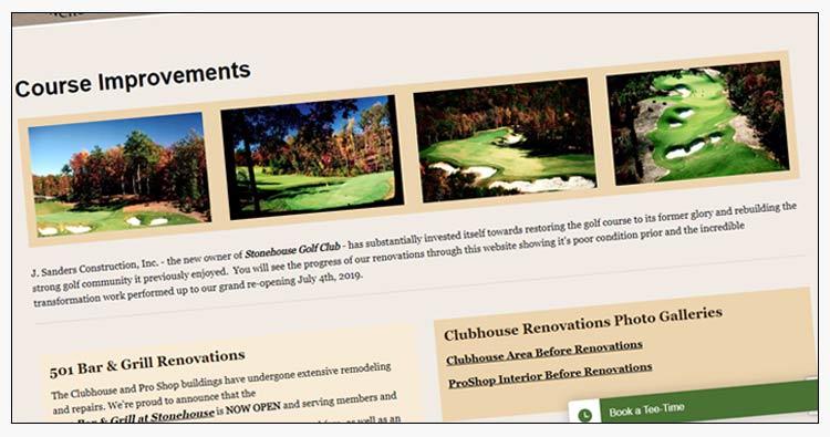 wordpress golf course website designs hampton va