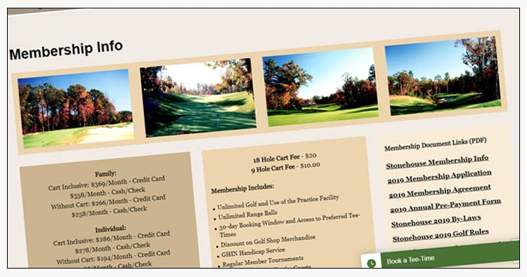 wordpress golf course websites williamsburg va