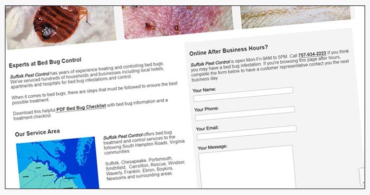 wordpress pest control website design example suffolk va