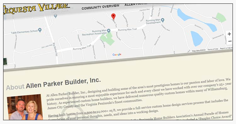wordpress custom home builder website design examples hampton va